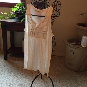 Tank peasant style w silver top stitch large